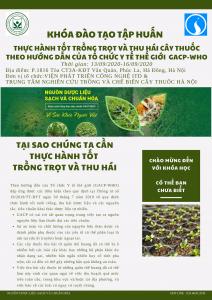 """Đào tạo """"Thực hành tốt trồng trọt và thu hái cây thuốc theo Hướng dẫn của Tổ chức Y tế thế giới GACP-WHO"""